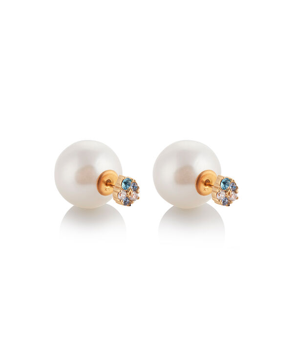 OLIVIA BURTON LONDON Under The Sea White Pearl Back Earrings GoldOBJSCE08 – SHOPBAG_LABEL - Side view
