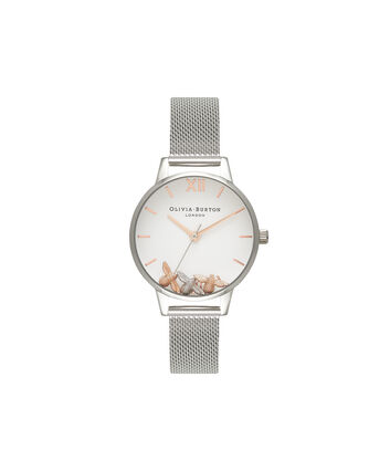 OLIVIA BURTON LONDON  Busy Bees Silver Mesh Watch OB16CH02 – Midi Dial Round in White and Silver - Front view