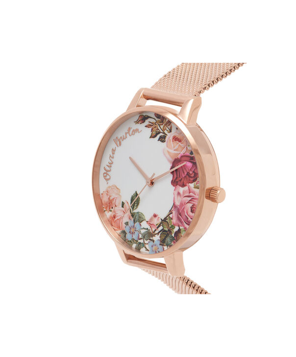 OLIVIA BURTON LONDON  English Garden Rose Gold Mesh Watch OB16ER10 – Big Dial in White and Rose Gold - Side view
