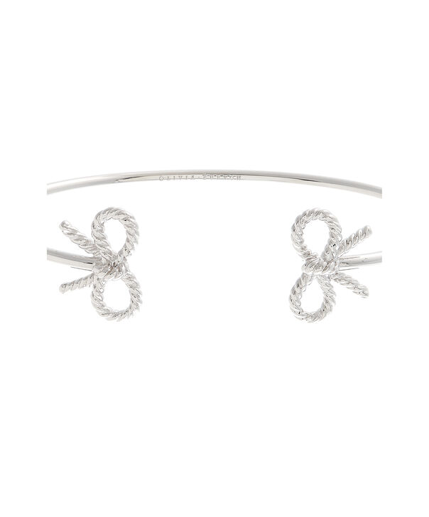 OLIVIA BURTON LONDON Vintage Bow Open Ended Bangle Silver OBJ16VBB18 – Vintage Bow Bangle - Side view