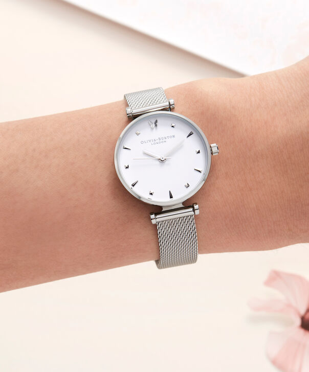 OLIVIA BURTON LONDON  Social Butterfly Silver Mesh Watch OB16MB12 – Midi Dial Round in White and Silver - Other view