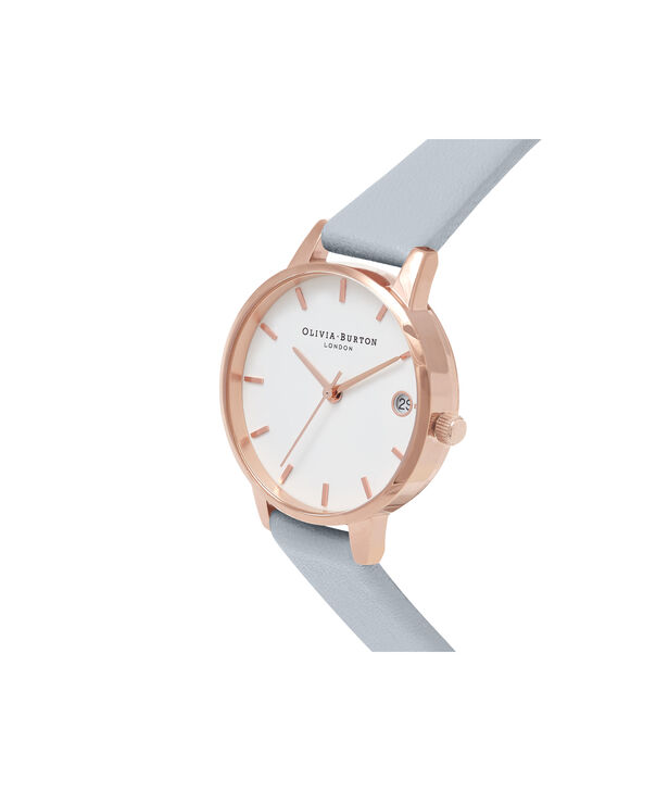OLIVIA BURTON LONDON  Chalk Blue & Rose Gold Watch OB16TD17 – Midi Dial Round in White and Blue - Side view