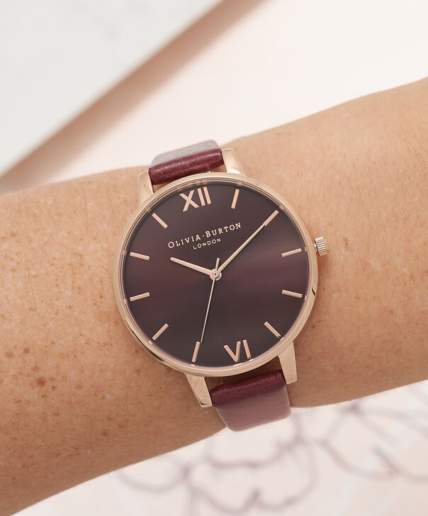 OLIVIA BURTON LONDON  Burgundy & Rose Gold Watch OB16BD106 – Big Dial in Chocolate and Burgundy - Other view