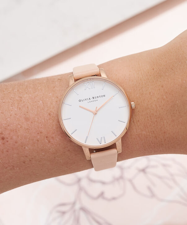 OLIVIA BURTON LONDON  Big Dial Nude Peach, Rose Gold & Silver Watch OB16BDW21 – Big Dial Round in White and Peach - Other view