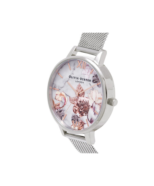 OLIVIA BURTON LONDON  Marble Floral Rose Gold & Silver Mesh Watch OB16CS10 – Big Dial in White Floral and Silver - Side view