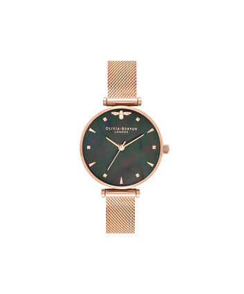 OLIVIA BURTON LONDON Queen BeeOB16AM145 – Midi Dial Round in Rose Gold - Front view