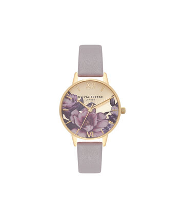 OLIVIA BURTON LONDON Peony Parlour Sunray Midi Dial Watch OB16PL48 – Midi Dial in grey and Gold - Front view