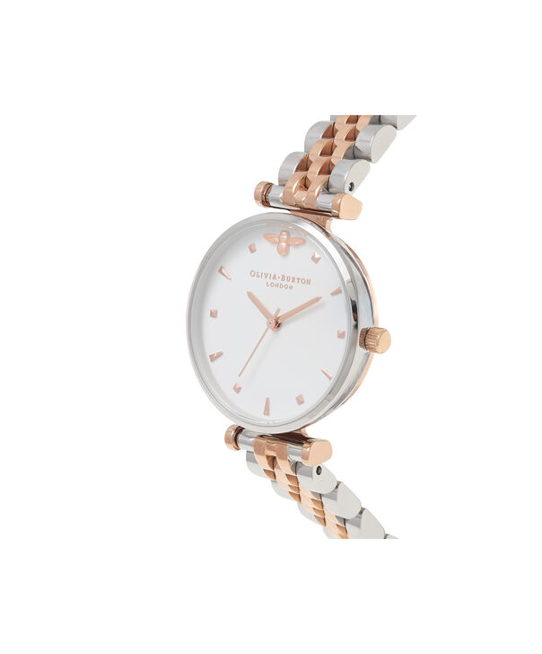 OLIVIA BURTON LONDON  T-Bar Bracelet Silver & Rose Gold Watch OB16AM93 – Midi in White and Silver and Rose Gold - Side view