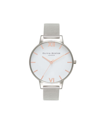 OLIVIA BURTON LONDON  White Dial Rose Gold & Silver Mesh Watch OB16BD97 – Big Dial Round in White and Silver - Front view