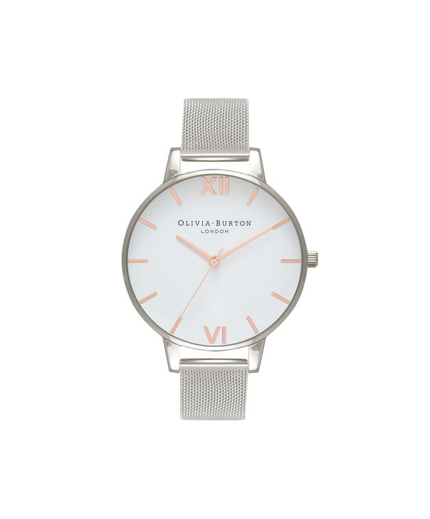 Ladies White Dial Rose Gold & Silver Mesh Watch | Olivia Burton London