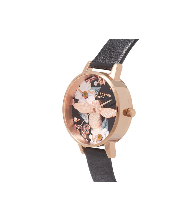 OLIVIA BURTON LONDON  Bejewelled Rose Gold Watch OB16BF05 – Midi Round Black and Rose Gold - Side view