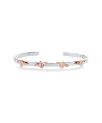 OLIVIA BURTON LONDON 3D Bee Bangle Silver & Rose GoldOBJ16AMB59 – Bangle in  and Silver & Rose Gold - Front view