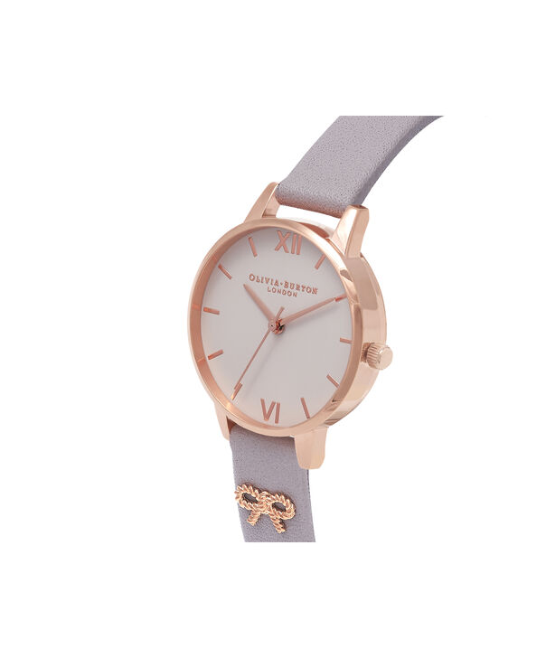 OLIVIA BURTON LONDON Vintage Bow Grey Lilac & Rose Gold Watch OB16VB05 – Midi Dial in Blush and Grey Lilac - Side view