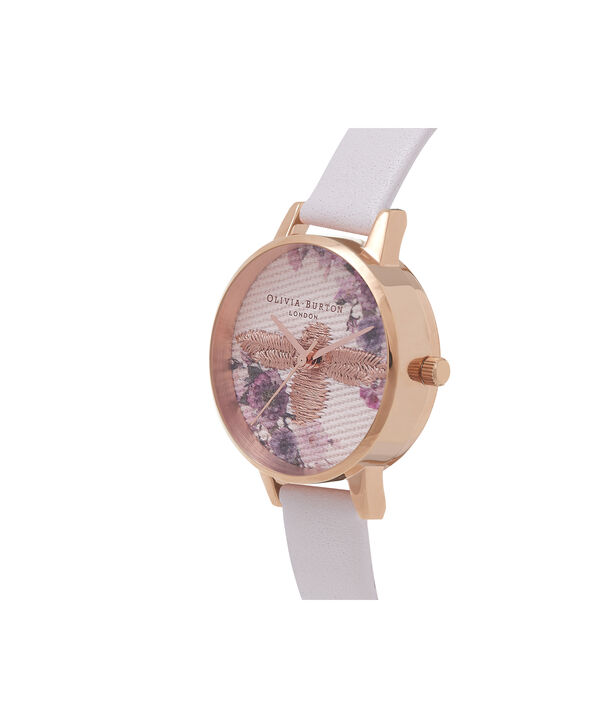 OLIVIA BURTON LONDON  Embroidered Dial 3D Bee Blush and Rose Gold Watch OB16EM06 – Midi Dial Round in White and Blush - Side view