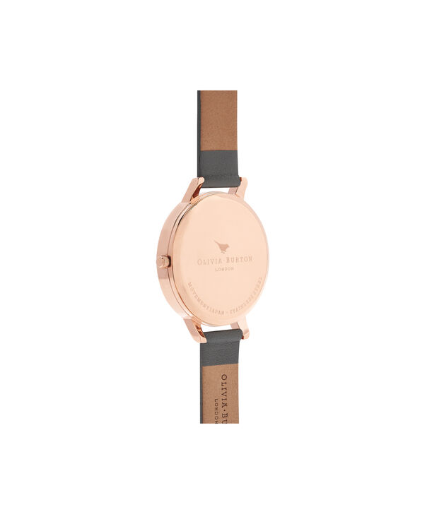 OLIVIA BURTON LONDON  Marble Floral Dark Grey & Rose Gold Watch OB16CS08 – Big Dial in Floral and Dark Grey - Back view