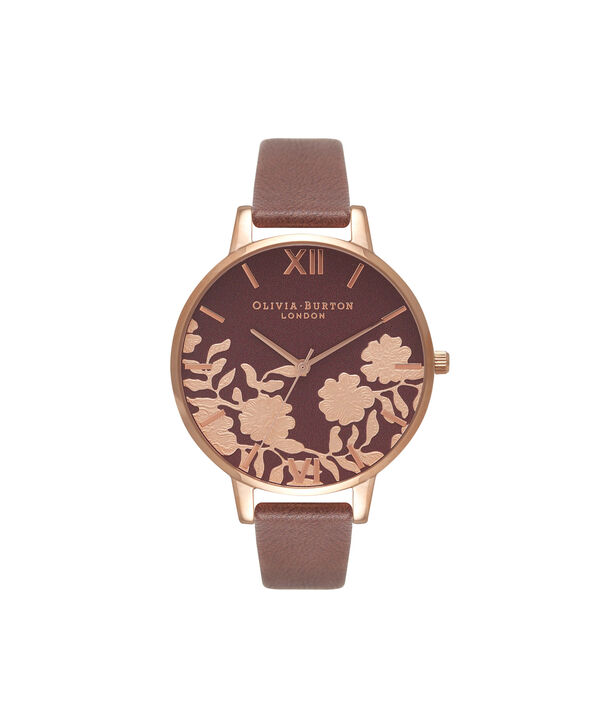 OLIVIA BURTON LONDON  Lace Detail Chocolate & Rose Gold Watch OB16MV61 – Big Dial Round in Rose Gold and Chocolate - Front view