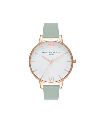 OLIVIA BURTON LONDON White DialOB16BDW27 – Big Dial Round in White and Mint - Front view