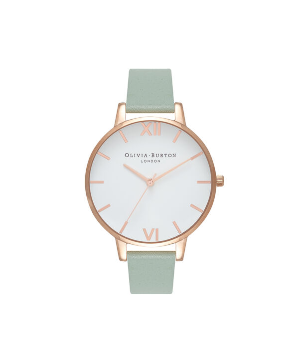 OLIVIA BURTON LONDON  Big Dial Mint & Rose Gold Watch OB16BDW27 – Big Dial Round in White and Mint - Front view