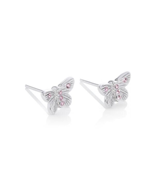 OLIVIA BURTON LONDON Bejewelled Butterfly Earrings Silver & Pink StoneOBJ16MBE08 – Stud Earrings in  and Silver - Side view