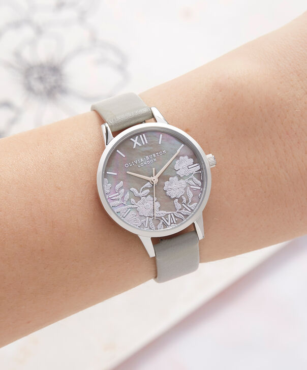 OLIVIA BURTON LONDON  Lace Detail Mother of Pearl Light Grey & Silver OB16MV93 – Midi Dial Round in Silver and Grey - Other view