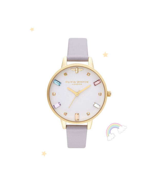 OLIVIA BURTON LONDON Rainbow Bee Demi Parma Violet & GoldOB16RB11 – Demi Dial In Parma Violet And Gold - Front view