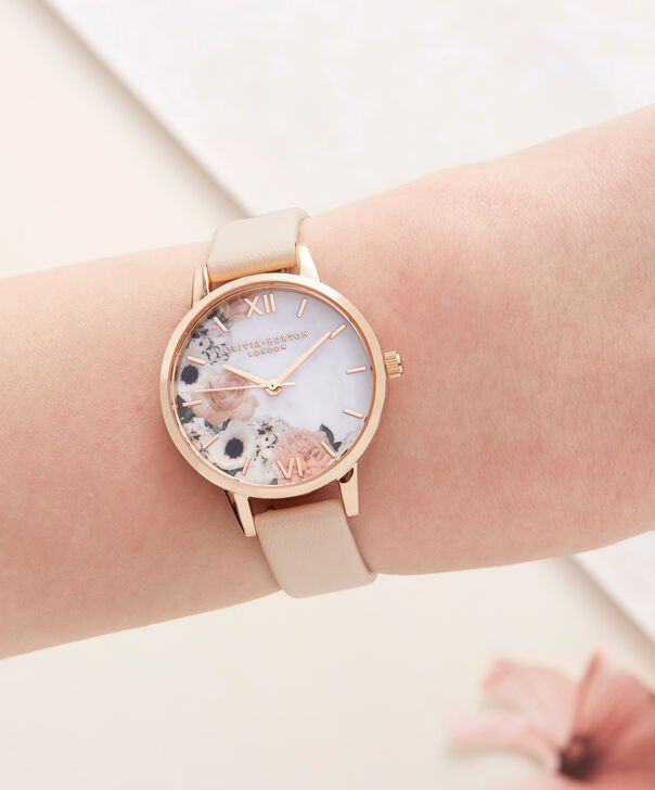 OLIVIA BURTON LONDON  Marble Floral Rose Gold Watch  OB16MF03 – Midi Dial Round in Nude Peach and Rose Gold - Other view