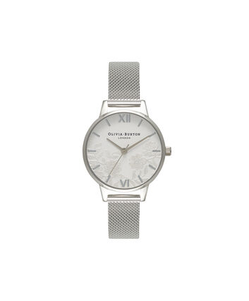 OLIVIA BURTON LONDON  Lace Detail Silver Mesh Watch OB16MV54 – Midi Dial Round in White and Silver - Front view