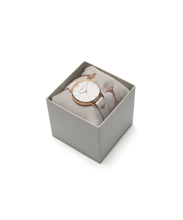 OLIVIA BURTON LONDON Gift Set 3D Bee Watch with 3D Bee BangleOB16GSET04 – Watch and Bangle Gift Set - Front view