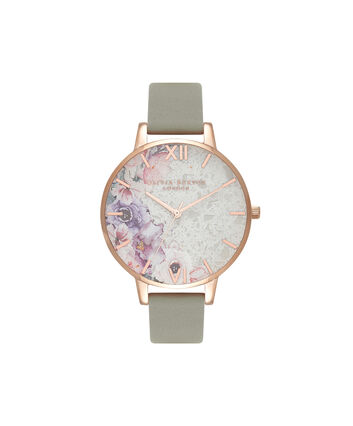OLIVIA BURTON LONDON Collectables Semi Precious White Quartz Floral, Grey & Rose GoldOB16SP04 – Big Dial Round in Rose Gold - Front view