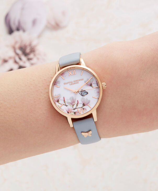 OLIVIA BURTON LONDON  Pretty Blossom Blue & Rose Gold Watch OB16ES08 – Midi Dial Round in Rose Gold and Chalk Blue - Other view