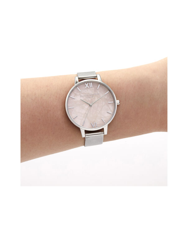 OLIVIA BURTON LONDON Big Dial Rose Quartz & Silver MeshOB16SP18 – Big Dial in Silver and Silver - Other view