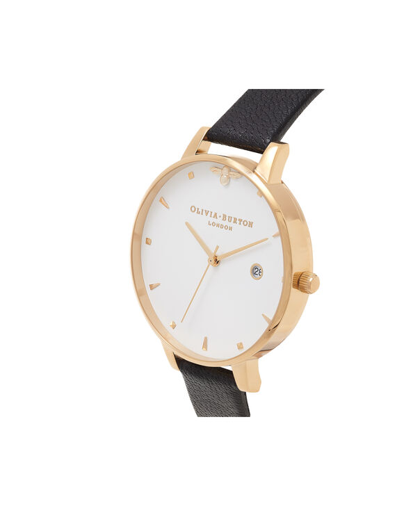 OLIVIA BURTON LONDON  Queen Bee Black & Gold Watch OB16AM86 – Big Dial Round in White and Black - Side view