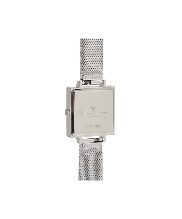 OLIVIA BURTON LONDON  3D Butterfly Mesh Silver OB16MB15 – Midi Square in Silver and Silver - Back view