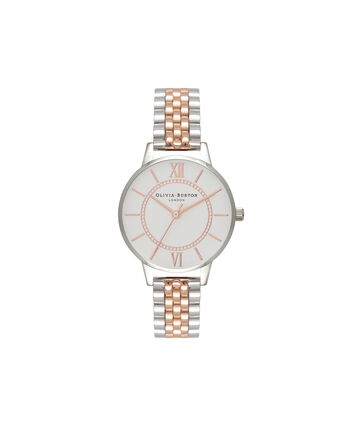 OLIVIA BURTON LONDON WonderlandOB15WD40 – Midi Dial in Silver and Rose Gold - Front view