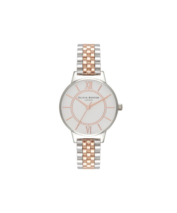 OLIVIA BURTON LONDON  Wonderland Bracelet Silver And Rose Gold Mix Watch OB15WD40 – Midi Dial in Silver and Rose Gold - Front view