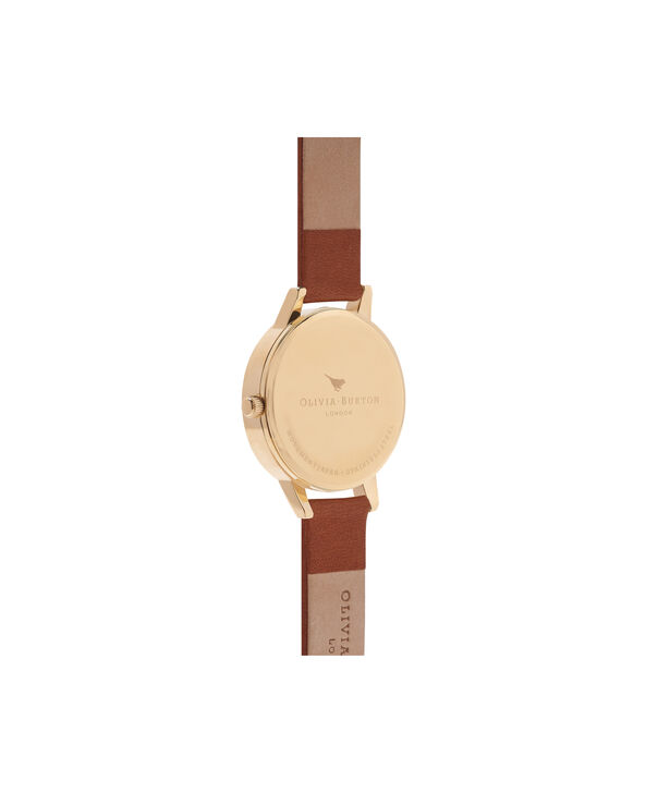 OLIVIA BURTON LONDON  White Dial Tan & Gold Watch OB16MDW09 – Midi Dial Round in White and Tan - Back view