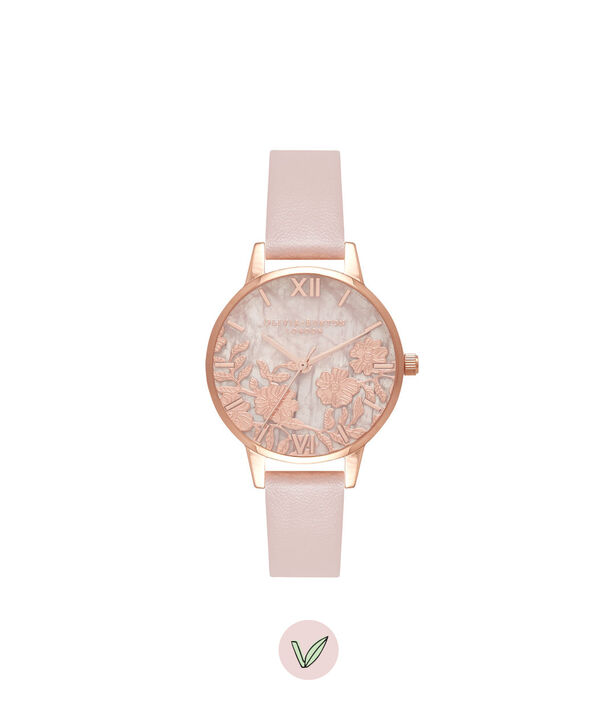 OLIVIA BURTON LONDON  Semi Precious Rose Quartz Vegan Rose Sand & Rose Gold OB16MV84 – Midi Dial Round in Rose Gold and Pink - Front view