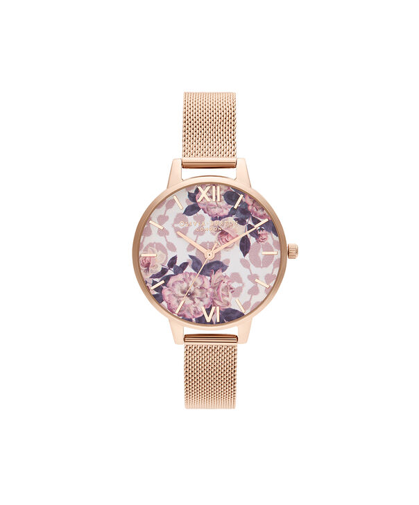 OLIVIA BURTON LONDON Wildflower Pale Rose Gold MeshOB16LP01 – Wild Flower Pale Rose Gold Mesh - Front view