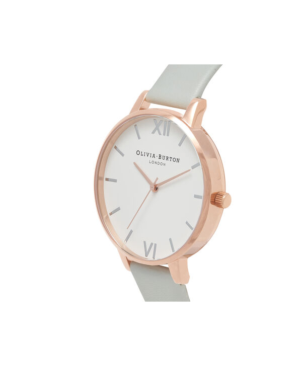 OLIVIA BURTON LONDON  Big Dial Grey & Rose Gold Watch OB16BDV02 – Big Dial Round in White and Grey - Side view