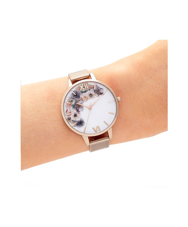 OLIVIA BURTON LONDON Watercolour Florals Pale Rose Gold MeshOB16PP57 – Watercolour Florals Pale Rose Gold Mesh - Other view