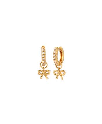 OLIVIA BURTON LONDON  Vintage Bow Huggie Hoop Gold & White Topaz Earrings OBJ16VBE16 – Vintage Bow Huggie Hoop - Front view