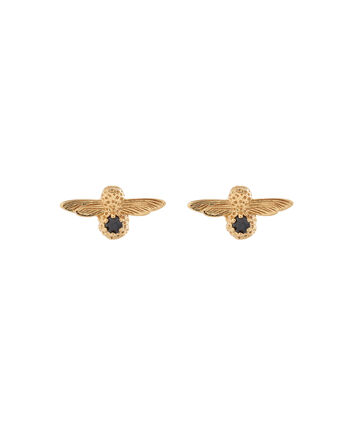 OLIVIA BURTON LONDON  3D Bee Stud Earrings Gold with Black Onyx Gemstone OBJ16AME25 – 3D Bee Bejewelled Stud Earrings - Front view