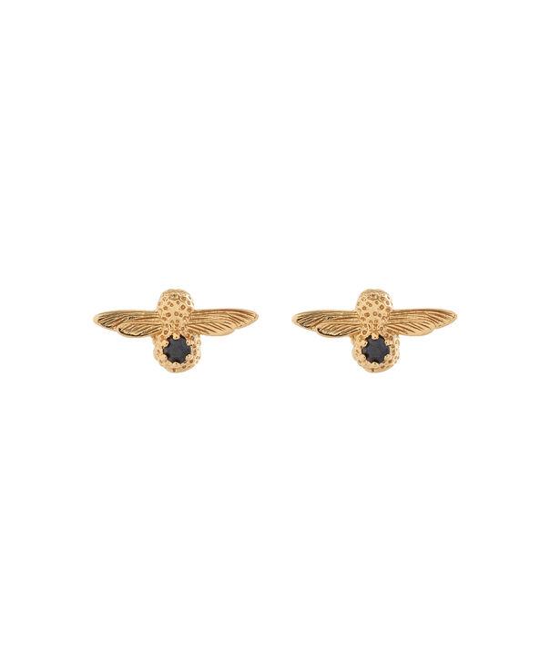 OLIVIA BURTON LONDON  3D Bee Stud Earrings Gold with Black Onyx Gemstone OBJ16AME25 – 3D Bee Bejewelled Stud Earrings - Front view