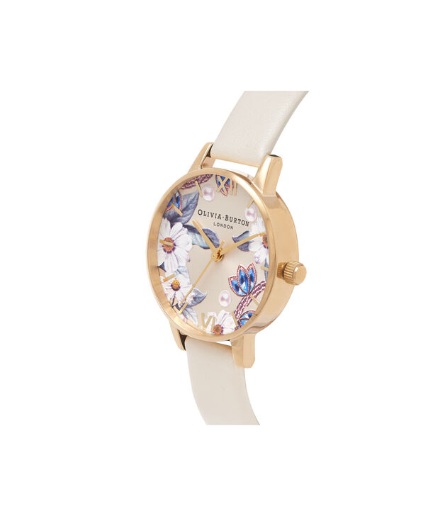 OLIVIA BURTON LONDON  Bejewelled Florals Vegan Nude & Gold OB16BF14 – Midi Dial Round in Gold and Nude - Side view