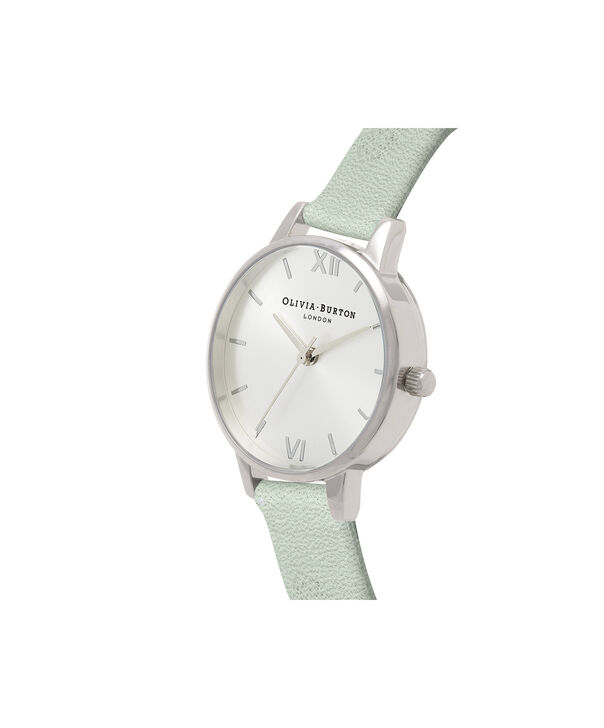 OLIVIA BURTON LONDON  Sunray Dial Sage & Silver OB16MD87 – Midi Dial Round in Silver and Sage - Side view
