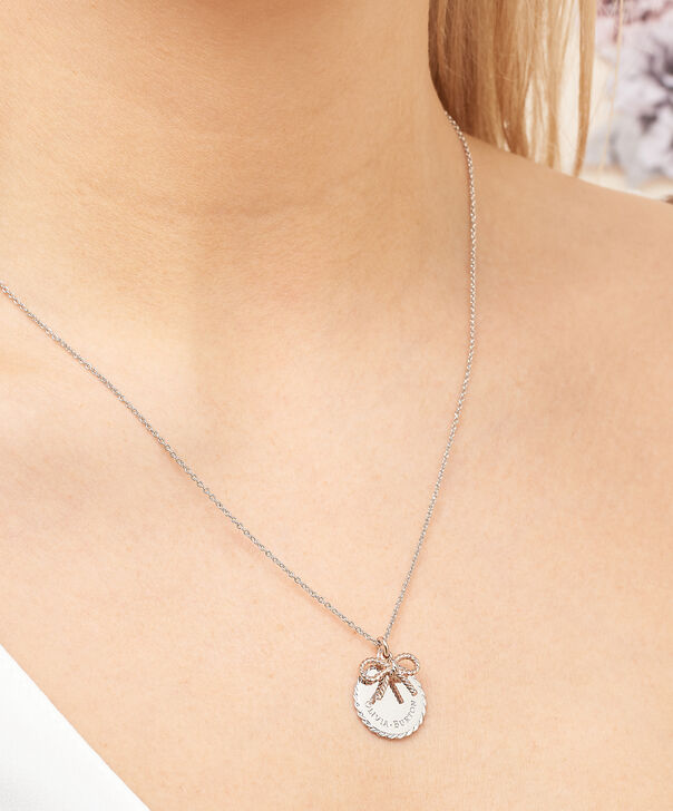 OLIVIA BURTON LONDON  Vintage Bow Coin Necklace Silver and Rose Gold OBJ16VBN05 – Vintage Bow Disc Necklace - Other view