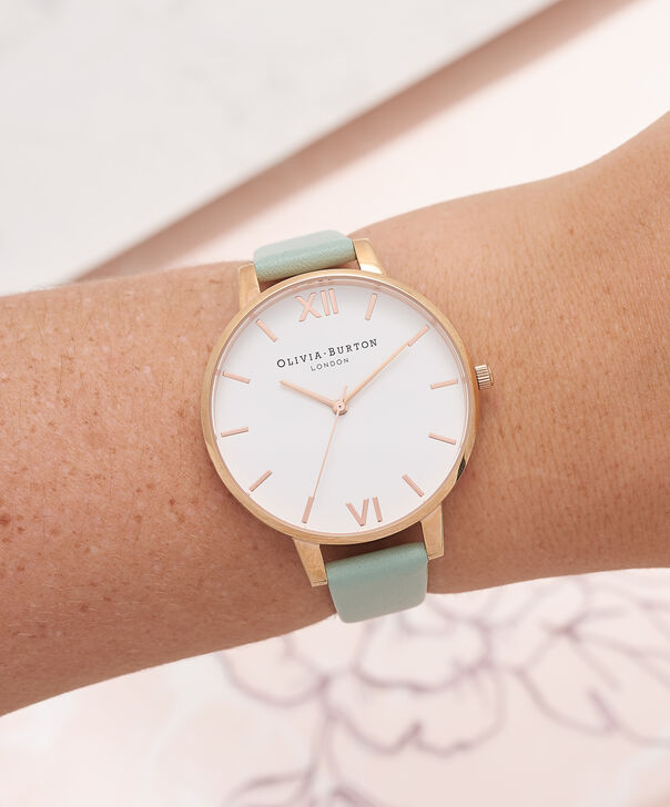 OLIVIA BURTON LONDON  Big Dial Mint & Rose Gold Watch OB16BDW27 – Big Dial Round in White and Mint - Other view