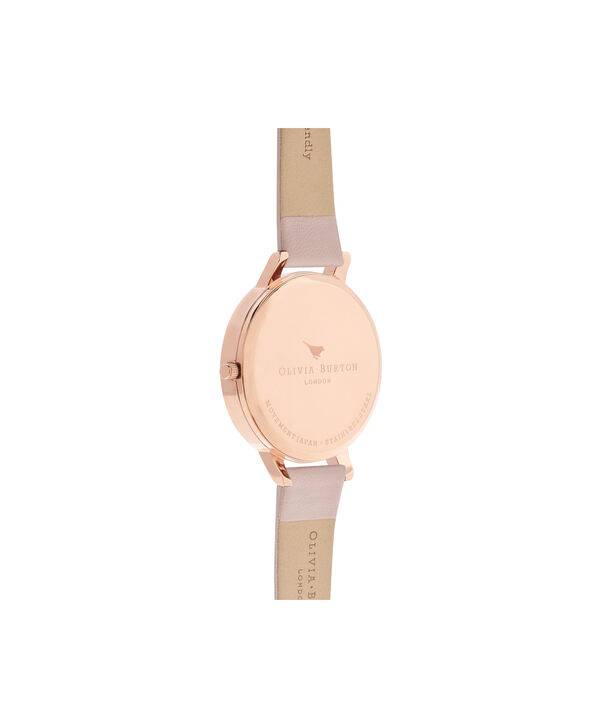 OLIVIA BURTON LONDON  Vegan Friendly Rose Sand & Rose Gold Watch OB16VE04 – Big Dial Round in Floral and Rose Sand - Back view