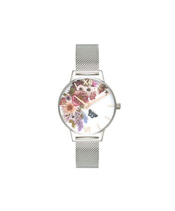 OLIVIA BURTON LONDON  Enchanted Garden Silver Mesh & Rose Gold OB16EG103 – Midi Dial Round in Silver - Front view