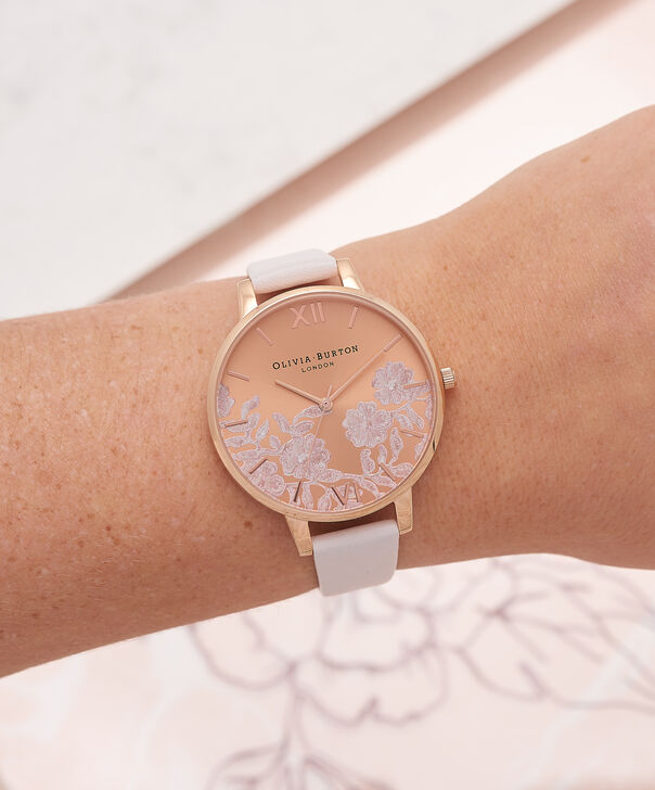 OLIVIA BURTON LONDON  Lace Detail Blush & Rose Gold Watch OB16MV53 – Big Dial Round in Rose Gold and Blush - Other view